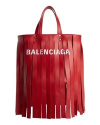 Balenciaga Extra Small Laundry Logo Fringe Calfskin Tote