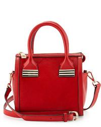 Sondra Roberts Mini Calf Hair Satchel Bag Red