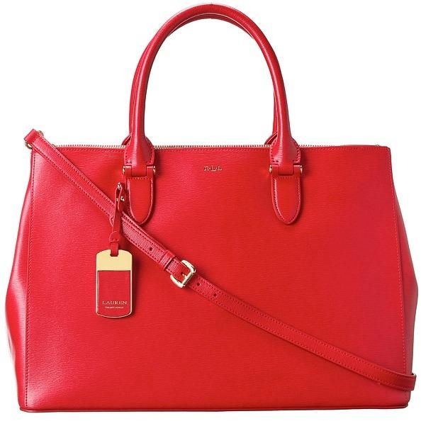 f48f01090e ... Red Leather Handbags Lauren Ralph Lauren Newbury Double Zip Satchel  Satchel Handbags ...