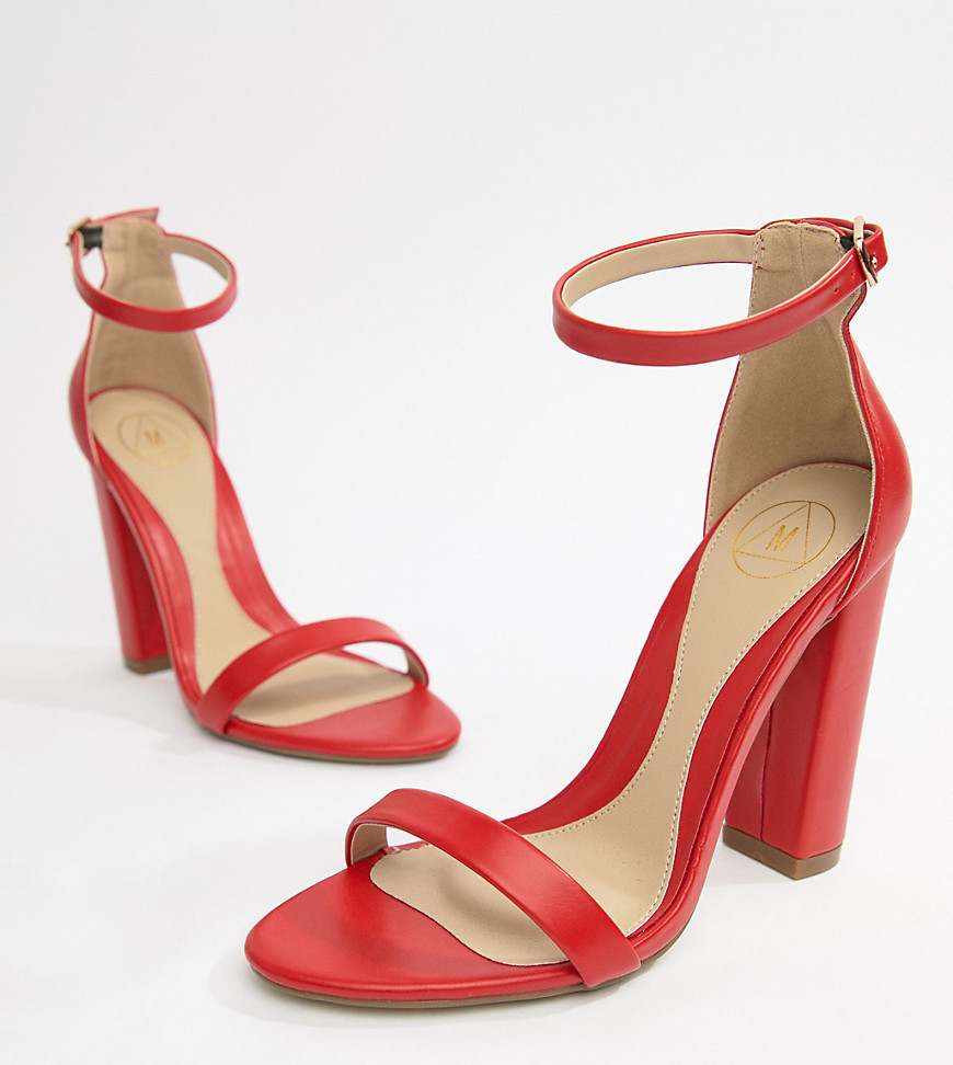 red barely there block heels