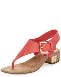 MICHAEL Michael Kors Michl Michl Kors London Leather Low Heel Thong Sandal Coral