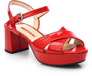 682da797ffd ... Prada Patent Leather Crisscross Platform Sandals ...