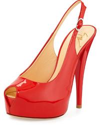 Giuseppe Zanotti Patent Leather Slingback Sandal Red