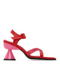 Paula Canovas Del Vas Red And Pink Diablo Heeled Sandals