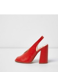 River Island Red High Vamp Block Heel Sandals