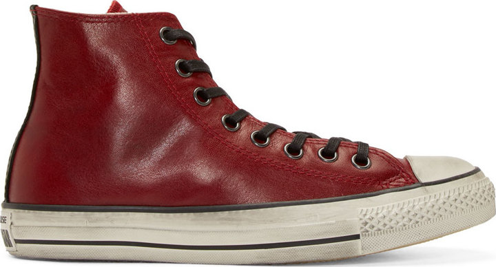 580cdd228ccd ... John Varvatos Converse By Red Leather Chuck Taylor High Top Sneakers ...