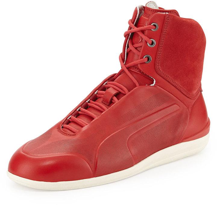 online retailer 49554 f9017 $425, Puma Ferrari Suede High Top Sneaker Red