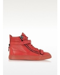 Giuseppe Zanotti London Red Leather And Metal High Top Sneaker