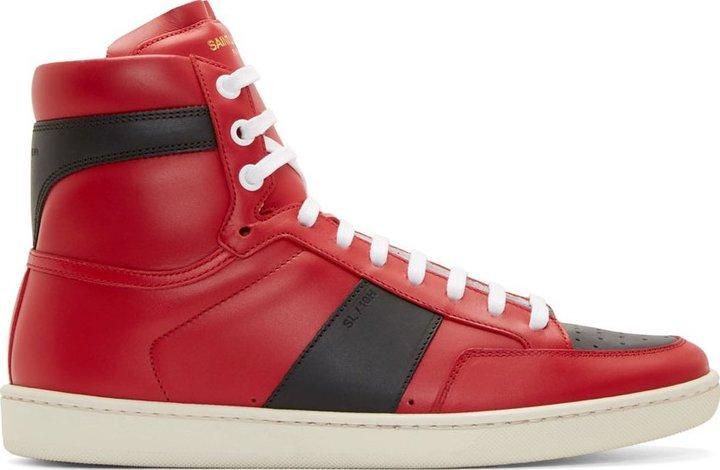7ca3fce72708 ... Saint Laurent Red Black Sl10 Court Classic High Top Sneakers ...
