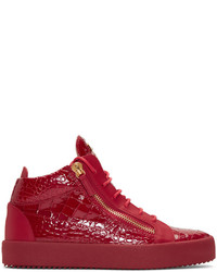 Red croc embossed london high top sneakers medium 1028254