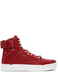 6f97059e3f5 ... Gucci Red Gg Signature High Top Sneakers
