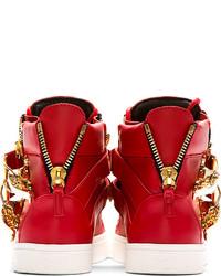 14ed57c91d851 Giuseppe Zanotti Red London Flip Clasp High Top Sneakers, $1,395 ...