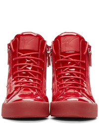 a2a35c77849 ... Giuseppe Zanotti Red Patent Leather High Top London Sneakers ...