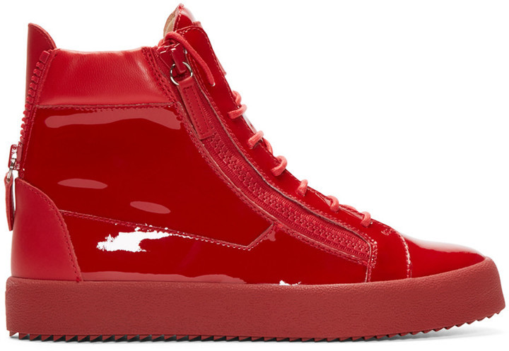 5723ebc71f798 Giuseppe Zanotti Red Patent Leather High Top London Sneakers, $700 ...
