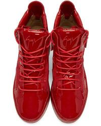 9173545bb38 ... Giuseppe Zanotti Red Patent London High Top Sneakers ...