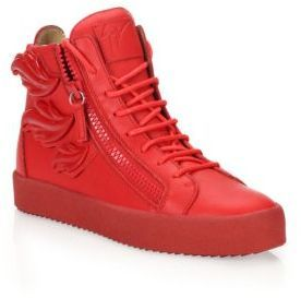 12a25492967c7 ... Saks Fifth Avenue › Giuseppe Zanotti › Red Leather High Top Sneakers  Giuseppe Zanotti Triple Wing High Top Sneakers