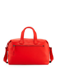 Pebbled leather duffel bag red medium 115047
