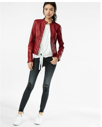 Express Leather Double Peplum Jacket