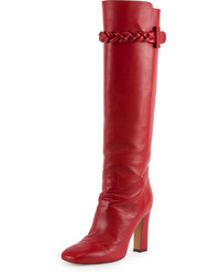 Valentino Braided Leather Knee Boot Rosso