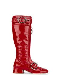 Miu Miu Red Patent Leather Zipper Knee Boots