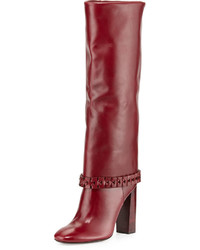 Tory Burch Sarava Leather Knee Boot Red Agate