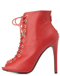 Dollhouse Lace Up Peep Toe Booties