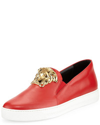 Versace Leather Slip On Sneaker With Gold Medusa Head Red