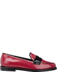 Opening Ceremony Mixed Material Penny Loafers Red