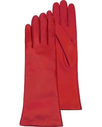 Red leather long gloves wcashmere lining medium 5370973