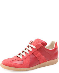 Red Leather Low Top Sneakers