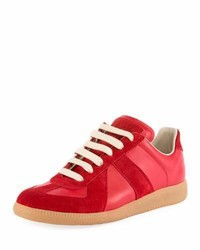 Mixed leather low top lace up sneaker medium 3714443