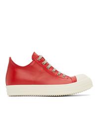 Rick Owens Red Calfskin Low Sneakers