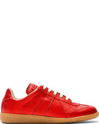 Maison Martin Margiela Red Glossy Grained Leather Replica Sneakers