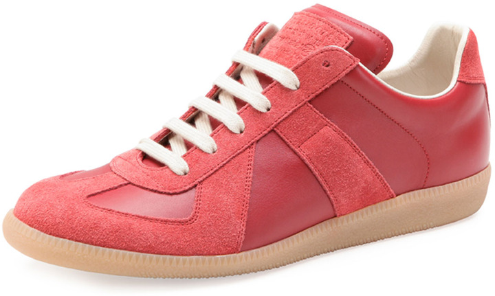 ... Maison Martin Margiela Replica Leather Low Top Sneaker Red ... 8b3aa4f84