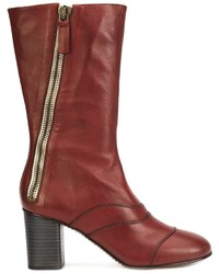 Red Leather Mid-Calf Boots