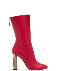 Alexander McQueen Red Sculpted Heel 105 Leather Boots