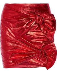 Isabel Marant Doll Metallic Leather Mini Skirt Red