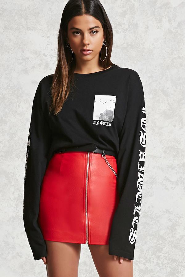 8629d23212 Forever 21 Zipper Faux Leather Mini Skirt, $17 | Forever 21 | Lookastic.com