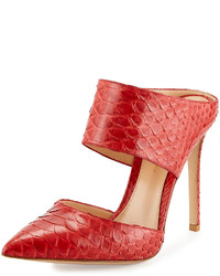 Gianvito Rossi Point Toe Python Mule Red