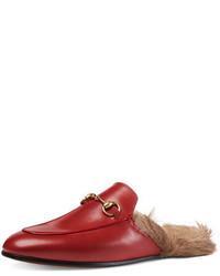 Princetown fur lined mule red medium 645453