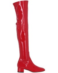 Red Leather Over The Knee Boots