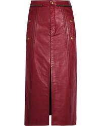 Chloé Leather Pencil Skirt Claret