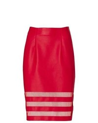 Venus Leather Look Pencil Skirt In Red Size 10