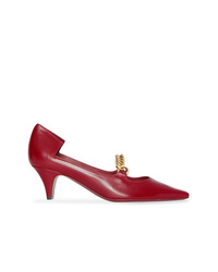 Burberry Link Detail Leather Point Toe Pump