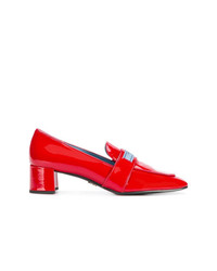 Prada Logo Patch Block Heel Loafers