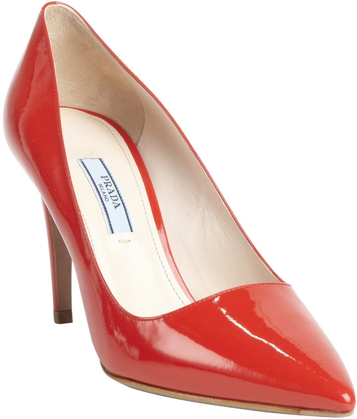 2fd4ea8322 Prada Red Patent Leather Pointed Toe Pumps, $650 | Belle & Clive ...