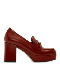 Gucci Red Houdan Horsebit 85 Heels
