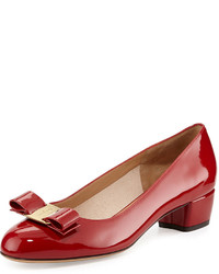Salvatore Ferragamo Vara 1 Patent Bow Pump Red