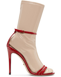 Gucci Red Ilse Naked Sock Sandals