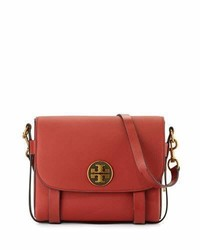 Tory Burch Alastair Leather Messenger Bag Light Redwood